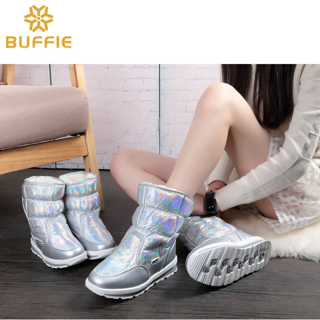 New Winter fashion women boots mixed natural wool female warm boots waterproof thick fur size 27 to 41 silver lady snow boots