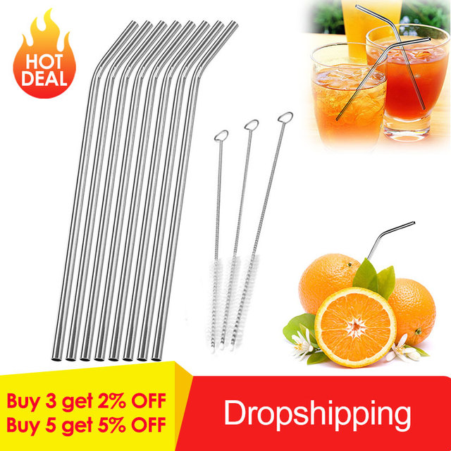 1/2/4/6/8Pcs/lot Reusable Metal Straw Drinking Stainless Steel Straw with 1/2/3 Cleaner Brush For Home Party Barware Accessories