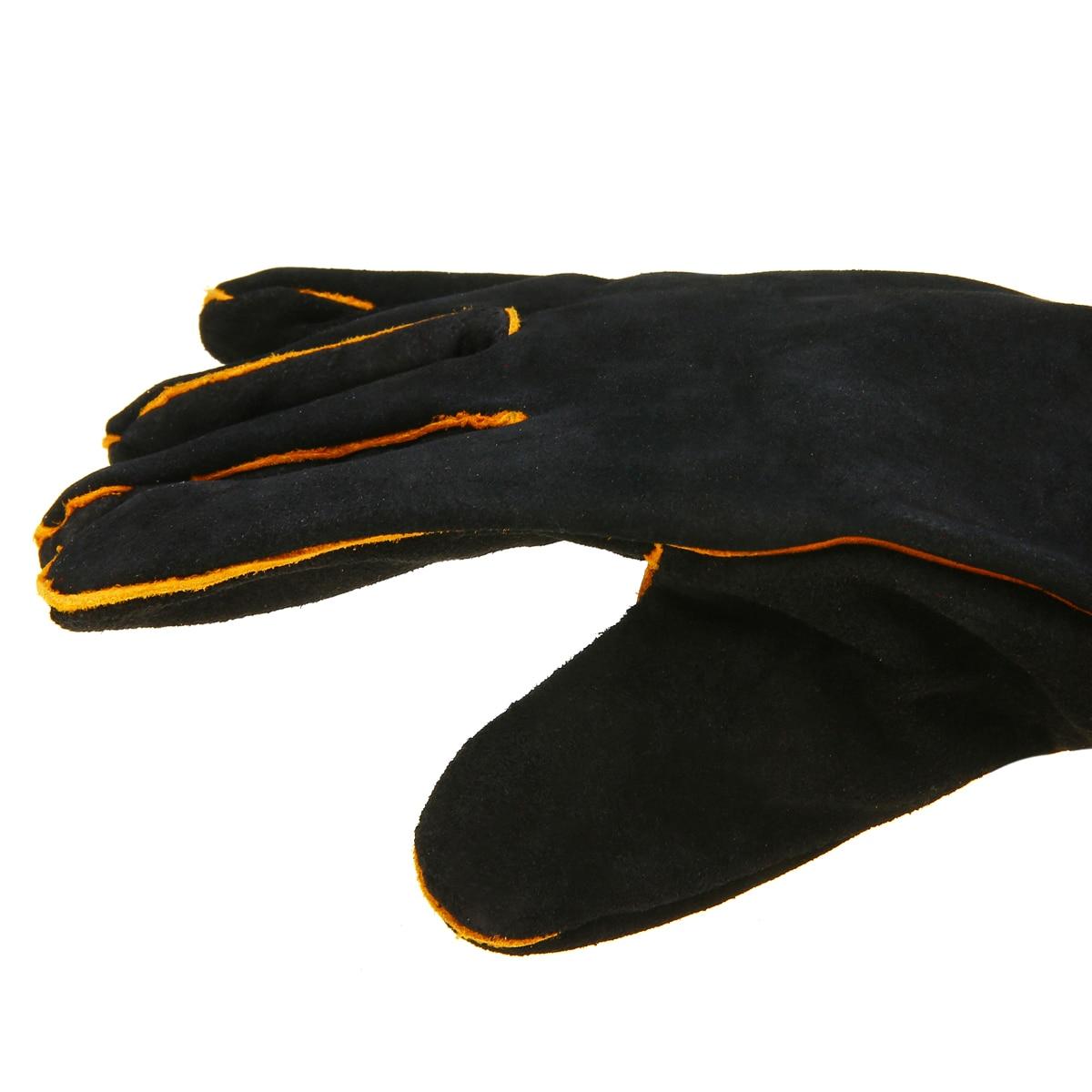1 Pair Heavy Duty Welding Gloves Cowhide Black Mig Welding Gauntlets Welders Leather Gloves Heat-resistant Protection