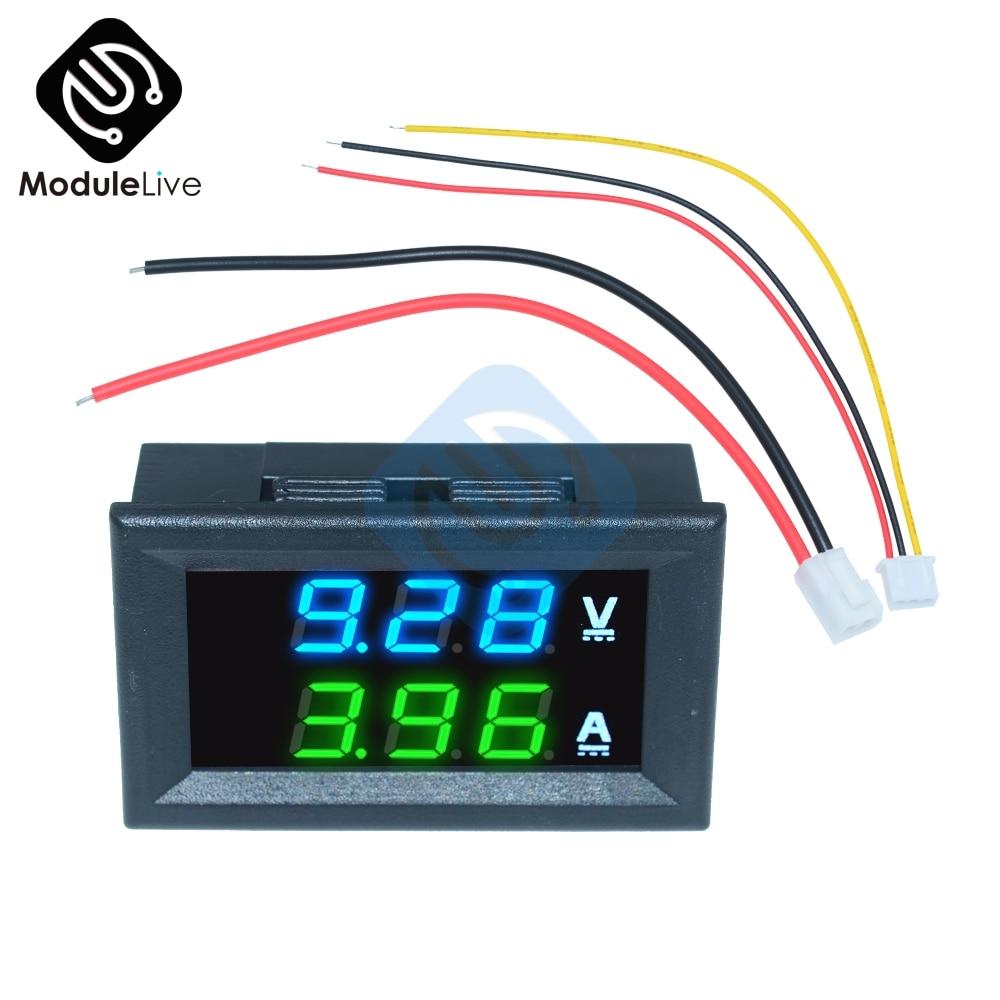 """0.56 Pollici Mini Digital Voltmetro Amperometro Dc 100V 10A Pannello Amp Tensione Corrente Del Tester Del Tester 0.56 """"Blu Verde doppio Display a Led"""