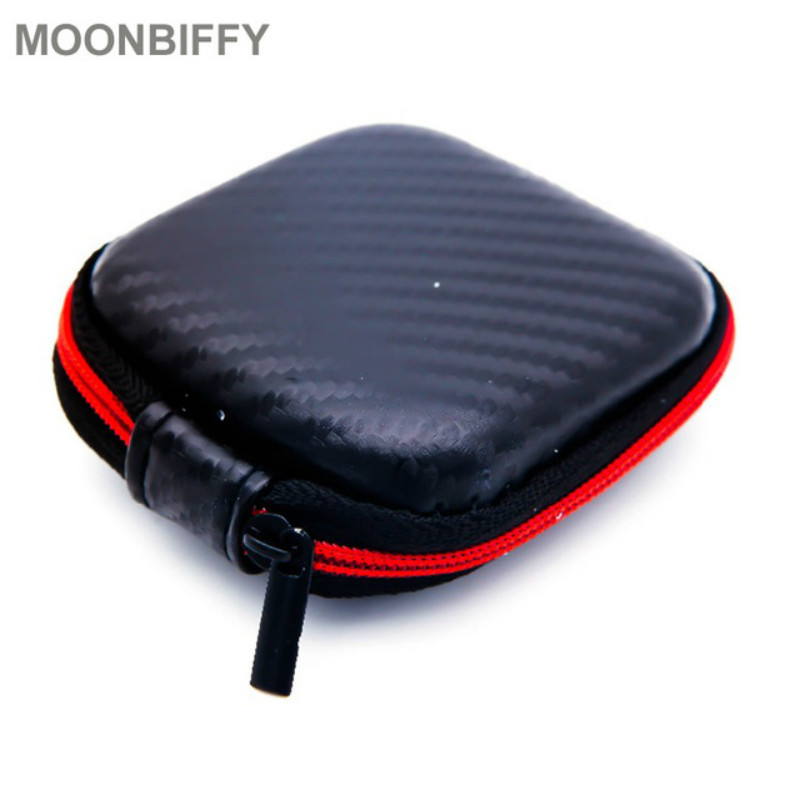 Carbon Fiber Zipper Headphones Box Earphone Earbuds Hard Case Trinketry Storage Carrying Pouch Bag SD Card Hold PU Charms Boxs