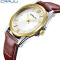 2017 CRRJU top luxury brand Men Watch leather strap fashion causal dress business quartz wristwatches creative gift watch