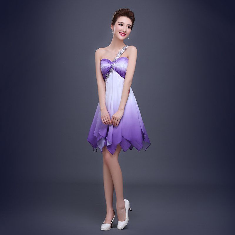 One Shoulder Purple White Mini Bridesmaid Dresses Chiffon Women ...
