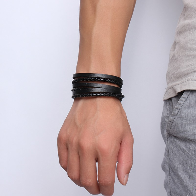 SANDEI Jewelry bracelet stainless steel Leather fashion bracelets for man BL-206B