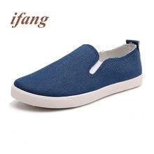 ifang 2017 fashion Flats men Canvas men's Footwear Flats Shoe Male Loafers shoes mans Flats Zapatos de los hombres