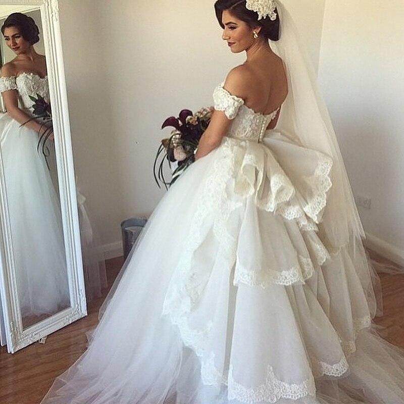 ball gown vestidos de novia off shoulder appliques romantic white