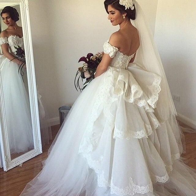 cd7780fed Ball Gown vestidos de novia Off Shoulder Appliques Romantic White Bride  Dresses Cheap abiti da sposa Luxury Lace Wedding Dresses