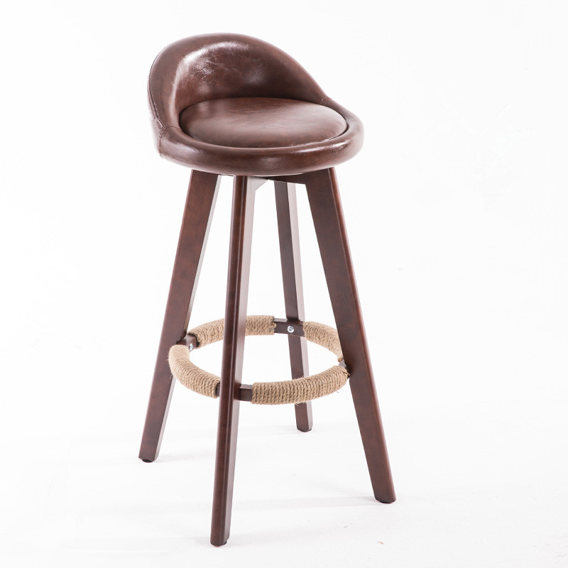 Us 78 0 Aliexpress Wooden Swivel Bar Stool Chair With Leather Seat Back Mahogany Finish Coffee Cafe Kitchen Furniture