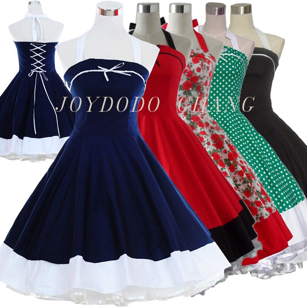 Žena Letní Květinový tisk Retro 50s 60s Swing Robe Vintage šaty Polka Dot Party Rockabilly Šaty Vestidos Femininos 5Cols