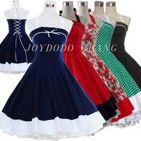 Woman Summer Floral Print Retro 50s 60s Swing Robe Vintage Dress Polka Dot Party Rockabilly Dresses Vestidos Femininos 5Cols