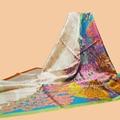 "Huajun || Brand Scarf ""Les legendes de l'Arbre Coloriage"" 140 Large Towel 100% Silk Silk Scarf Printed Shawl"