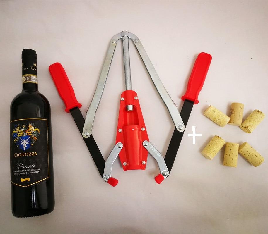 Double Blague de Main De Levier Blague De Bouteille De Vin avec Bouchage Manipulé Par 2 pour Homebrew vinification + 6 pièces en bois bouteille en liège