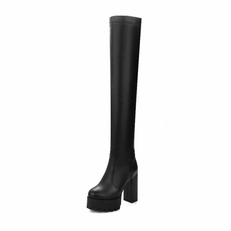 Prova perfetto Moda Siyah Kış Çizmeler Kadın 2019 Yeni Varış Diz Çizmeler Üzerinde Platformu Tıknaz Topuklu Ayakkabı Büyük Boy 42