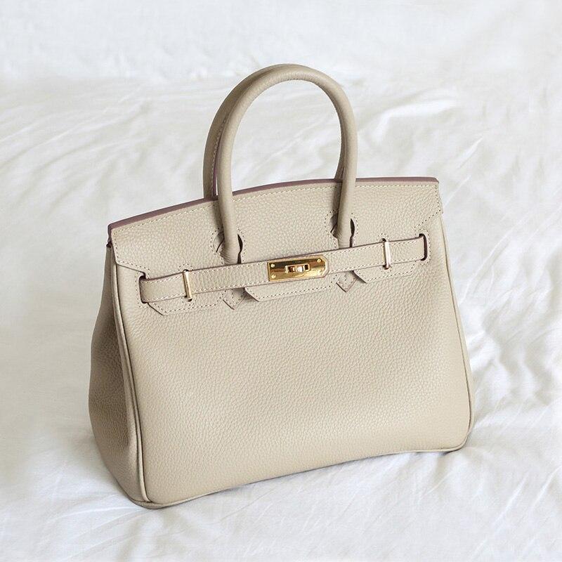 Для женщин Сумочка Geniune кожа Feminina роскошные сумки дизайнер из мягкой яловой кожи сумка повелительницы простой замок сумка 30 см 35 см