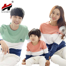 2016 New Family Matching Outfits Mom/Dad/Baby Stripe Long-Sleeve Cotton T shirts Spring/Autumn Family Clothing Sets