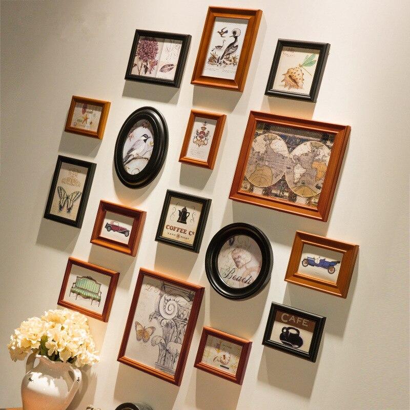 Cadre Photo en bois de Style américain 16 pièces/ensemble ensemble cadres Photo muraux combinaison maison salon décor cadres Photo
