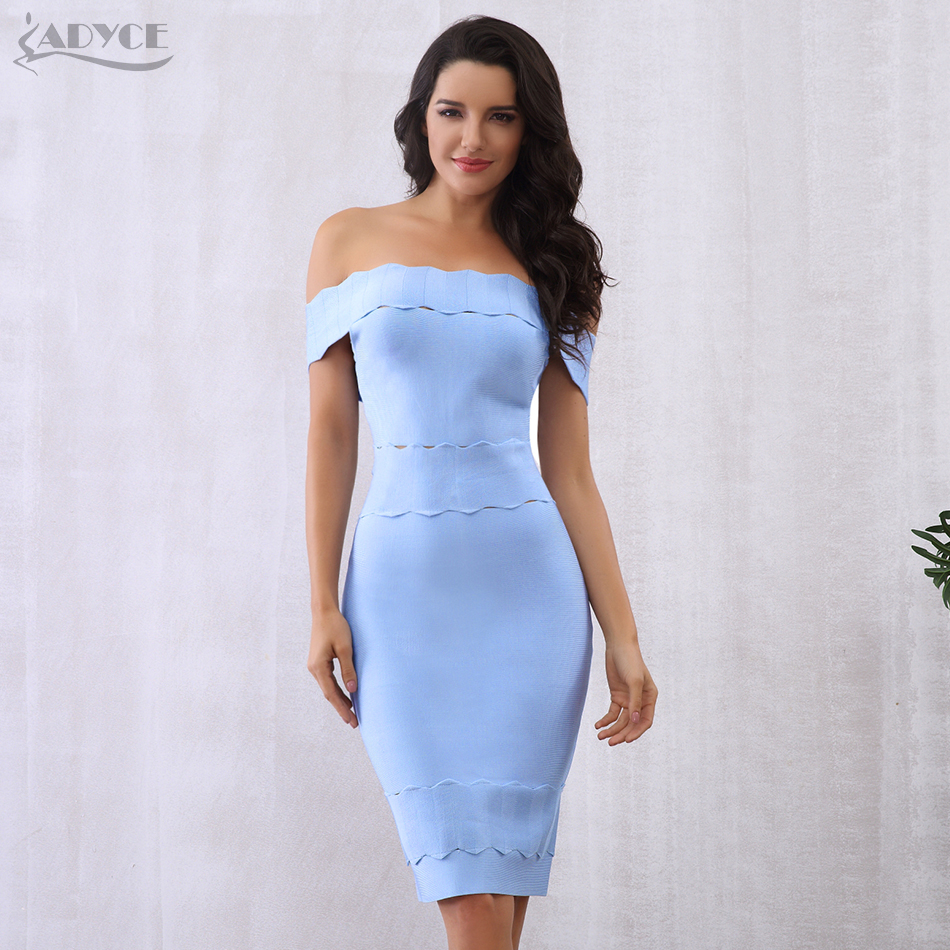 Adyce 2019 Chic Elegant Women Bandage Dress Sexy Blue Black Slash Neck Night Out Celebrity Party
