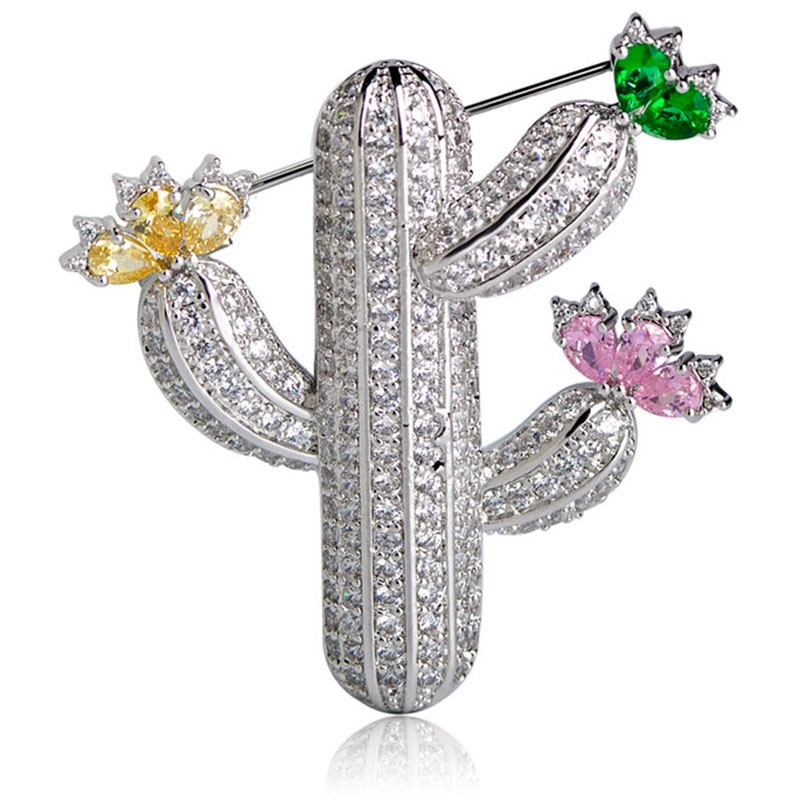 Fashion Cactus Brooches For Women Plant Brooch Pins Clothes Dress Clips