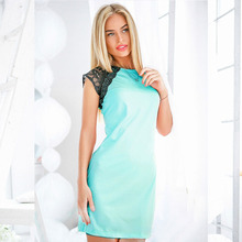2017 Fashion Lace Patchwork Summer Dress Women O-neck Sleeveless Party Dresses Ukrai Ladies Casual Office Dress Plus Size