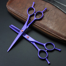 new professional 5.5 inch Two-tailed Violet Piano paint thinning & cutting hair scissors set shears barber hairdressing scissors