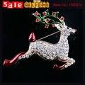 Unisex Animal Christmas Crystal Rhinestone Deer Brooch CZ Diamond Enamel Deer Xmas Brooch Pin Scarf Buckle Badge Collar Clip