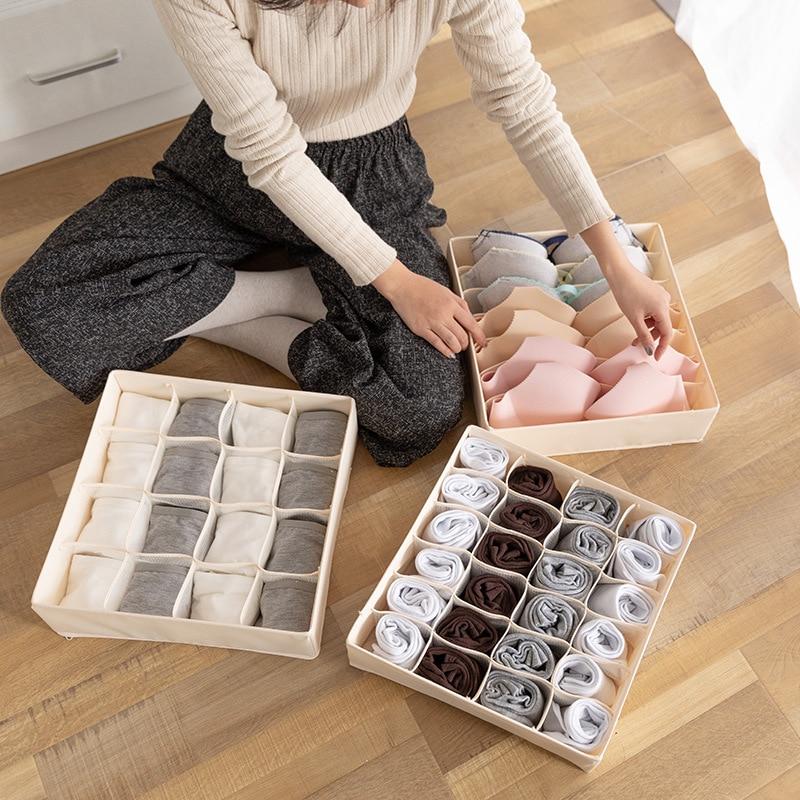 Home Solid Color Storage Box For Folding Socks Bra Underpants Underwear Organizer
