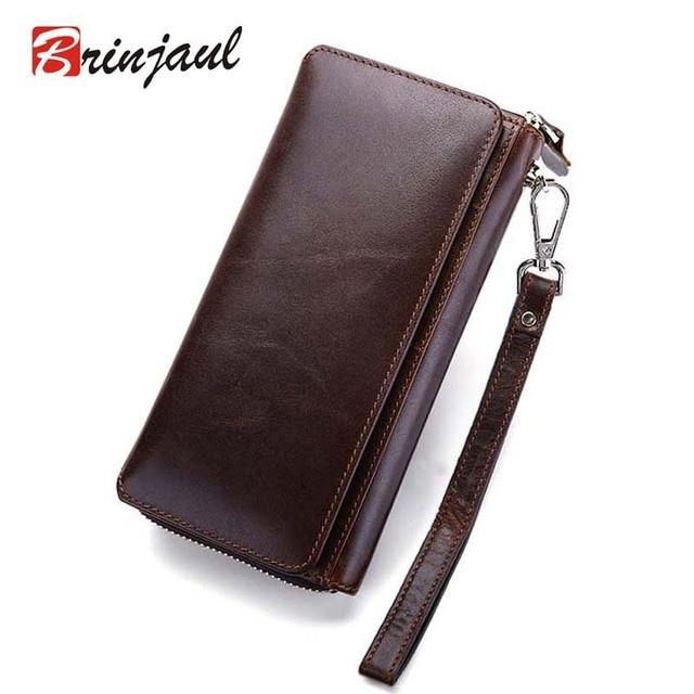 2017 Luxury Male Genuine Leather Purse Men's Clutch Wallets Handy Bags Business Carteras Mujer Wallets Men Brown Dollar Price