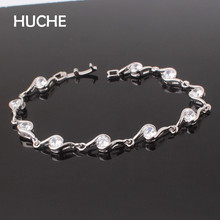 HUCHE Wave Crystal Charm Bracelets For Women  With AAA Cubic Zirconia  Luxury Copper Vintage Fashion Jewelry HYJL027