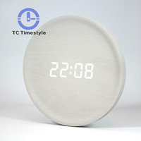 Nordic Clock Voice activated Intelligent Wall Clocks Modern Design For Living Room Minimalist LED Wood Wall Watch