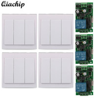 QIACHIP 433mhz AC 110V 220V 1CH Wireless Remote Control Switch Receiver 86 Wall Panel Transmitter For