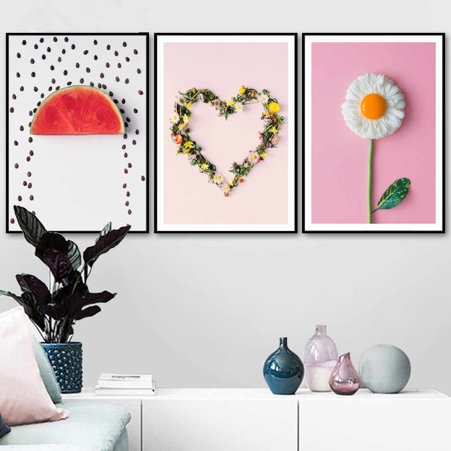 Gohipang Flower Watermelon Nordic Poster Canvas Painting Wall Art Posters And Prints Wall Pictures For Living Room Kitchen Decor