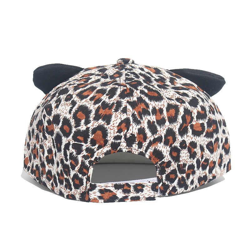 الصيف الأطفال عارضة في الهواء الطلق قبعة الشمس الورك البوب قبعات ليوبارد نمط الاطفال قبعة بيسبول القط آذان الفتيات الصبي ل 1-5 سنوات Snapback