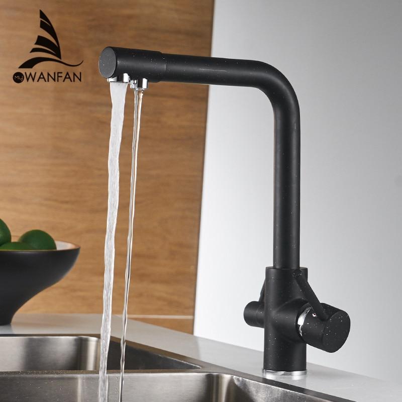 Filtro de grifos de cocina montada cubierta grifo mezclador de 360 rotación con purificación de agua con grifo mezclador de la grúa para la cocina WF-0175