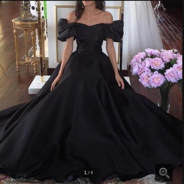 Vintage 1950s Ball Gown Prom Dress Off The Shoulder Black 2017 Occasion