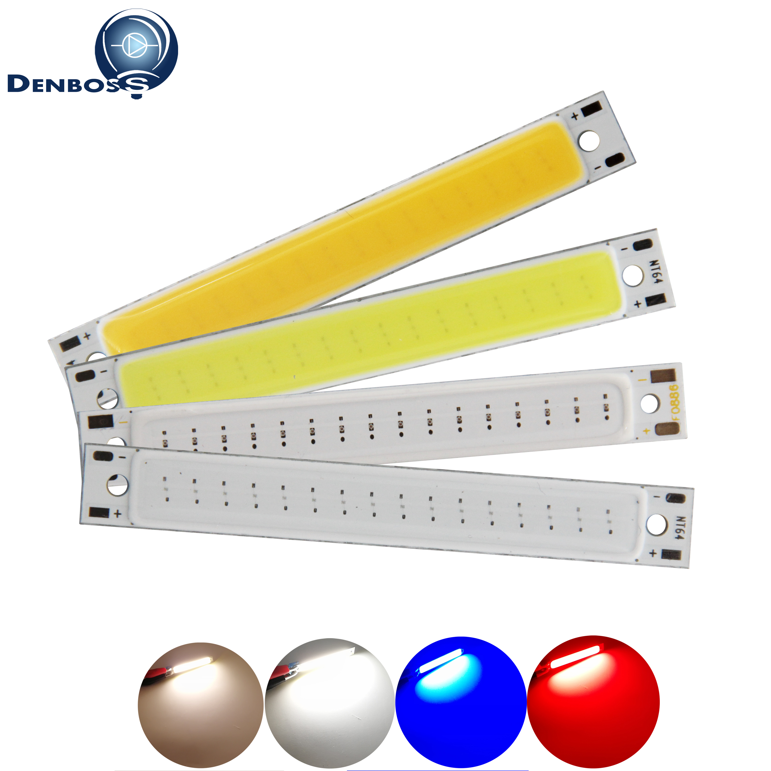 Hot sale DENBOSS manufacturer 60x8mm <font><b>LED</b></font> COB <font><b>Strip</b></font> for work lamp 1.5W 3W 2V 3V DC Warm White Blue Red COB <font><b>LED</b></font> Light for DIY image