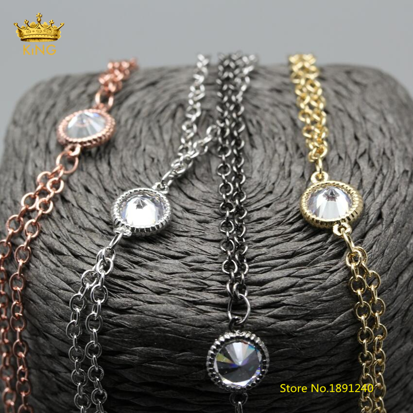 5Meters Beauty Chains Jewelry Findings,7mm Flat Round Zircon Beads Double Chains,TWO Rows Wire Wrapped Rosary Chain Charms HX165 стоимость