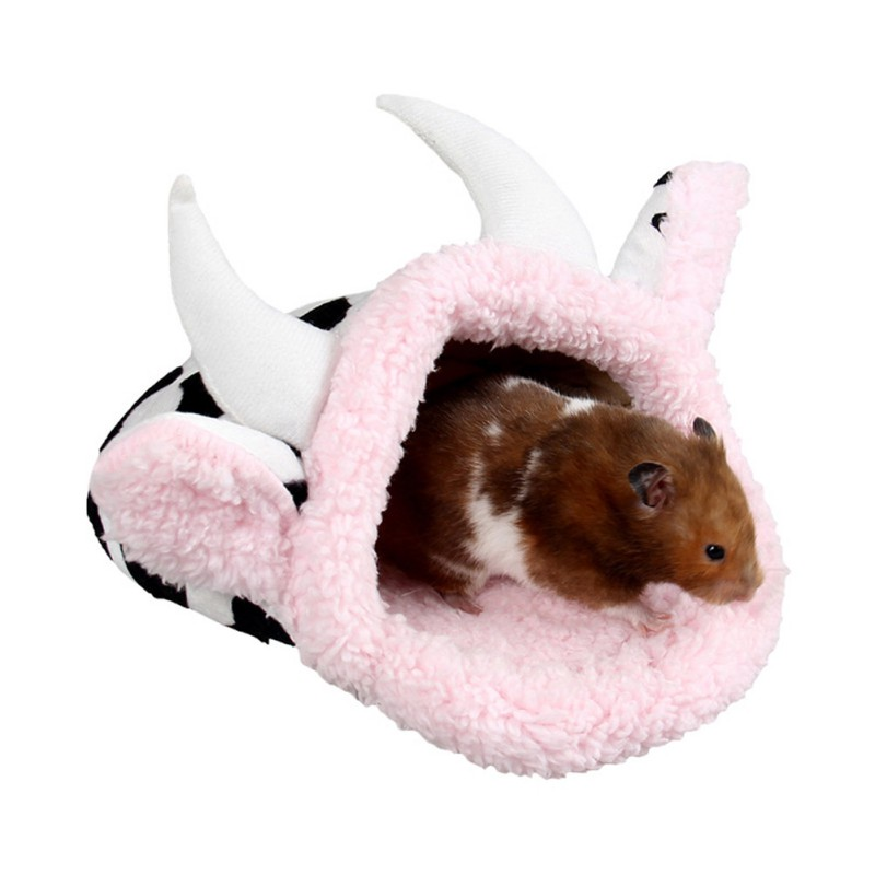 Cow Shape Rabbit Guinea Pig Hamster Bed House Winter Warm Fleece Squirrel Hedgehog Chinchilla Rats Bed House Cage Nest Hamster