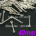 Wholesale 1000pcs 40mm Dull Silver Plated Tone Metal Straight Bar Link Connectors tube spacer jewelry findings accessories
