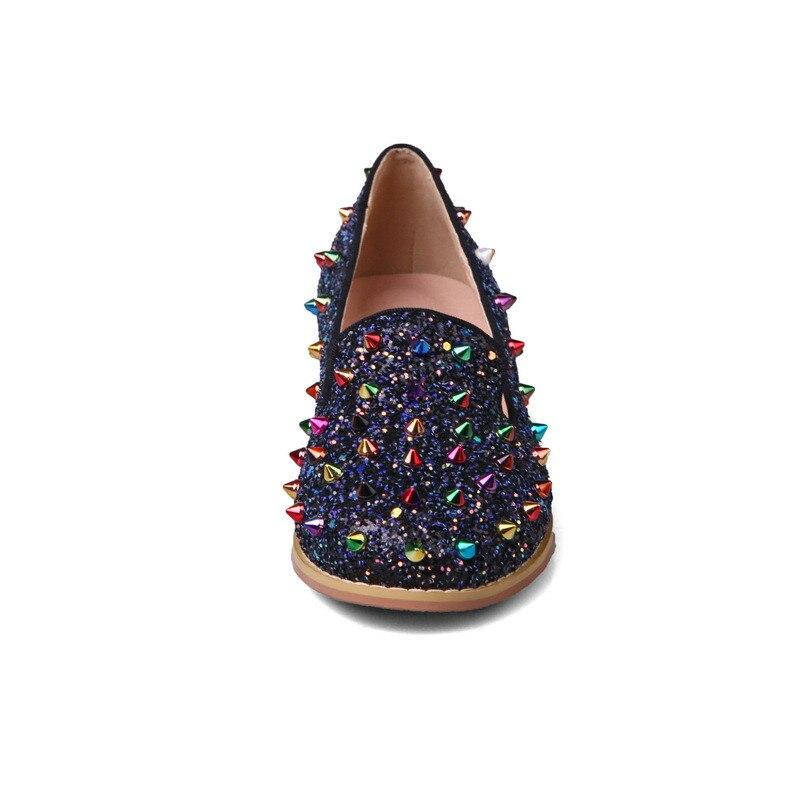 SARAIRIS 2018 Spring Autumn Brand Colorful Rivet Pumps Shallow Plus Size 32-48 Shoes Woman slip-on Fashion Casual Shoes Women