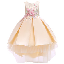 Elegant Fower Girls Dress Wedding Party Kids Princess Ball Gown Children Embroidered Beading Dresses For Girls Clothes Vestidos girls pageant dresses glitz beading flower girls dresses princess wedding party gown vestidos longo