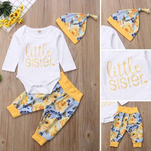 Pasgeboren Baby Meisje Zusje Tops Romper Bloem Broek Leggings Hoed Herfst Baby Meisjes Kleding Outfit Kleding