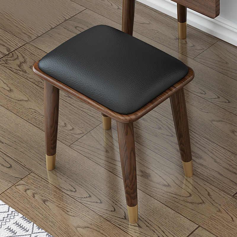 Solid wood Nordic Japanese white wax wood dressing stool modern bedroom walnut color Home makeup stool light Luxury Furniture