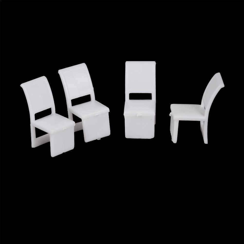 5 unids/set muebles de miniatura juguetes los niños Silla de comedor de plástico muebles de mesa de casa de muñeca casa cocina