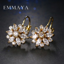 Hot Trendy Luxury Crystal Flower Stud Earrings For Women New Fashion Elegant Gold Plated Zircon