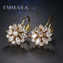 Hot Trendy Luxury Crystal Flower Stud Earrings For Women New Fashion Elegant Gold Plated Zircon Earrings недорого