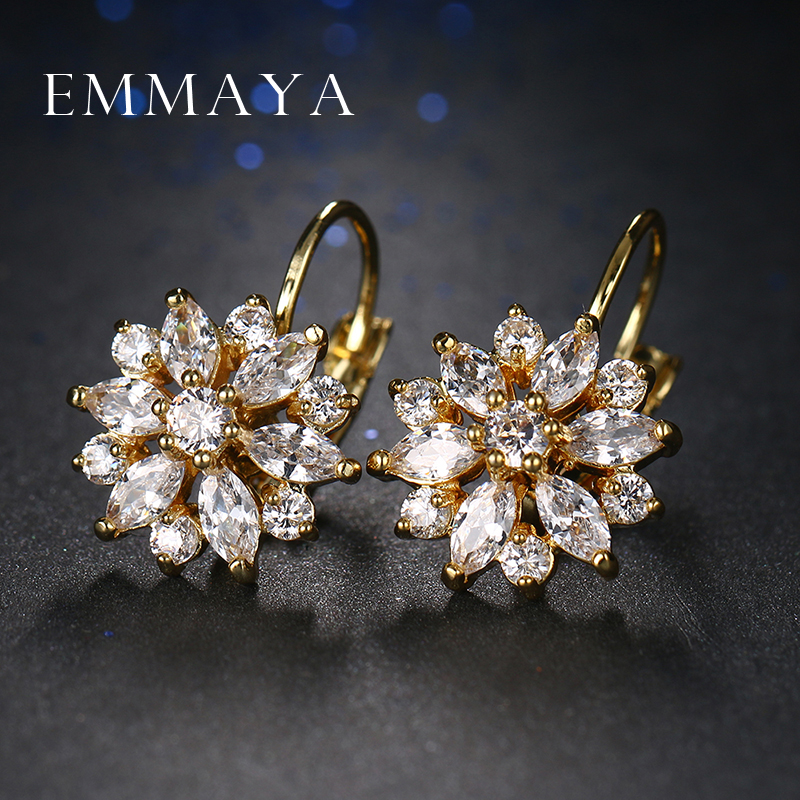 Emmaya quente na moda de luxo cristal flor brincos para as mulheres nova moda elegante ouro cor zircão