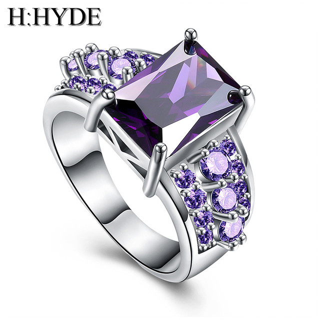 H:HYDE 1 pc Silver Color purple CZ Cubic Zirconia Stone women jewelry wedding ri