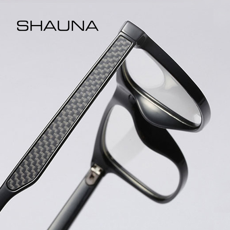 SHAUNA Carbon Fiber Decoration TR90 Eyeglasses Prescription Frame Men Resin Lens Ultralight Square Optical Glasses Myopia image