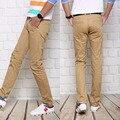 Ventas calientes Solid Para Hombre Pantalones Hombres Marca Ropa Recta mens ocasionales adelgazan pantalones de los hombres de moda denim pantalones khaki hombres #919