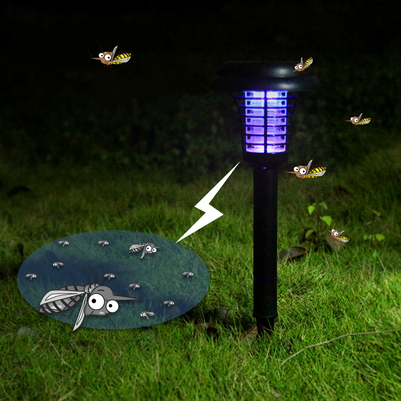 Hot Solar Mosquito Killernight Light Outdoor Yard Garden Lawn Light Mosquito Repellent LInsect Pest Bug Zapper Trapping Lamp